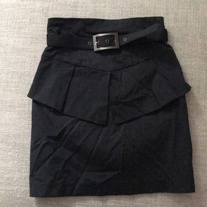 Belted peplum mini skirt
